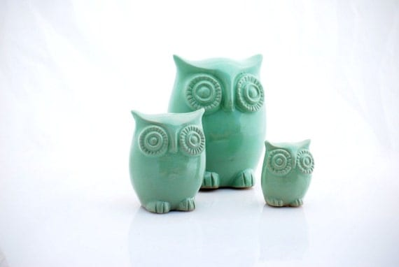 Owl Home Decor In Mint Julep Set Of Three By Claylicious