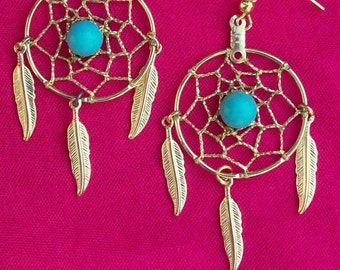"DREAM CATCHER Earrings with Gold, Turquoise and three feathers 1"" Dream web, dreamcatcher earrings gold or silver with turquoise"