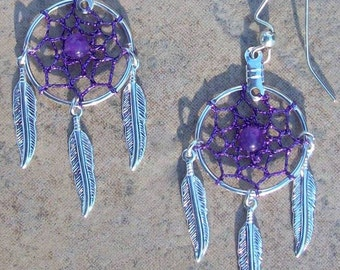 Purple Dreams ll Purple and silver Dream catcher earrings with Amethyst- in silver or gold