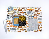 Reusable placemat with  forest design. Organic  place mat for child. Orange gift for boy.