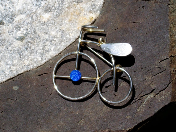 Tricycle Trike Pendant Brooch Rhinestone Goldtone Metal Vintage Retro Jewelry