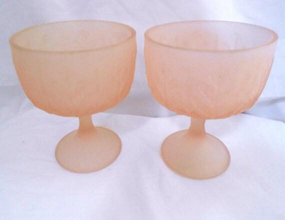 2 Vintage Pale Peach Pink Satin  Glass Bowl Planters  on Pedstal  with Oak Leaf Design