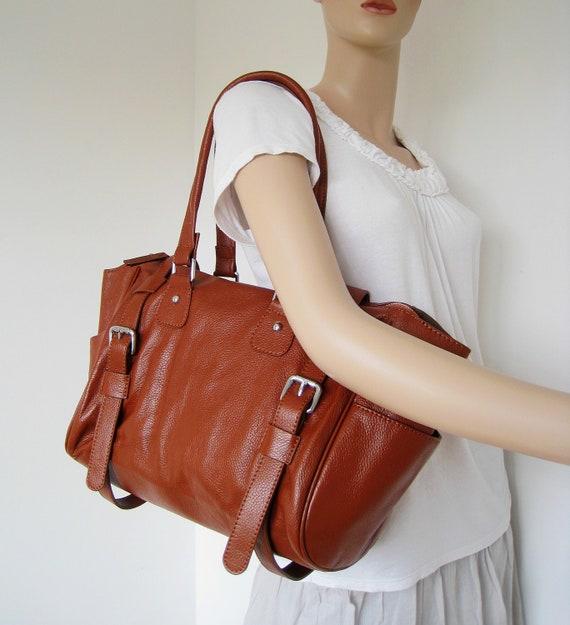 Leather satchel brown---Adeleshop handmade Leather bag Messenger Diaper bag Shoulder bag Tote Handbag Hip bag Women