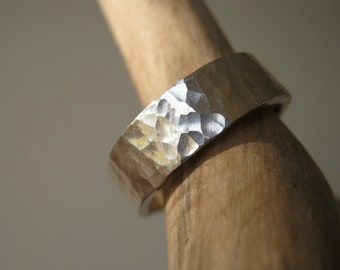 Hammered Heavy Band in Sterling Silver -  Unisex Rustic Wedding Band, Engagement Ring, 16 ga ( 1.30mm) thick,  8mm Wide or 10mm Wide