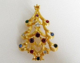1980s Monet Christmas Tree Brooch