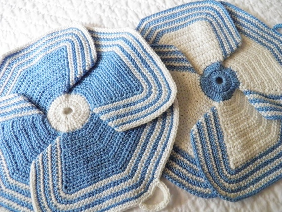 Vintage Pair of Blue Crochet Pot Holders