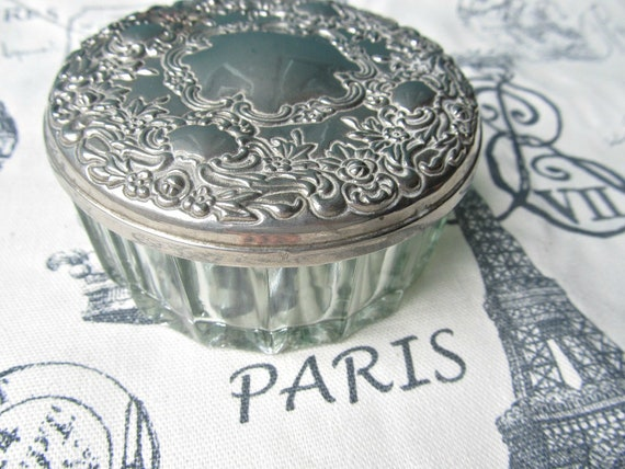 Glass Powder Jar- Vanity Collectible-Silverplate Boudoir Accessory