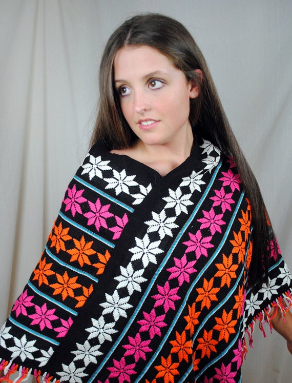 Vintage Boho Flower Poncho Sweater