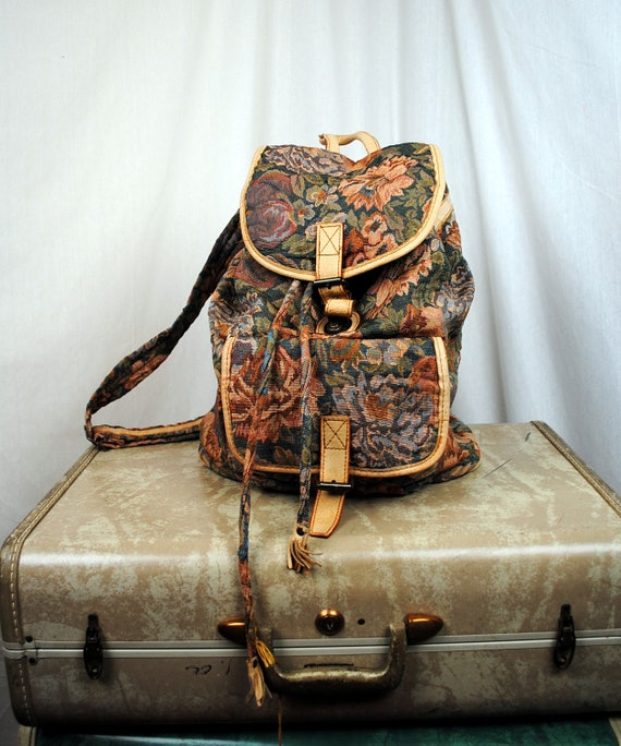 Vintage Tapestry Floral Rucksack Backpack Purse