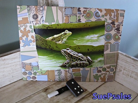Functional Wall Art Piece for Frog Lovers, Secret Chalkboard on one side and photo on other, comes with chalk and domino felt eraser