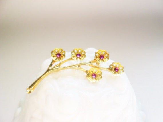 Pink Cherry Blossom Brooch - Vintage Flower Stem Brooch with Bright Pink Crystal Accents - Eco Mother's Day