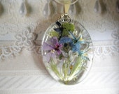 Spring Pastel Garden-Pressed Flower Glass Pendant with Pink & Lavender Phlox, Forget-Me-Nots, Blue and White Hyacinth, Wispy Grasses