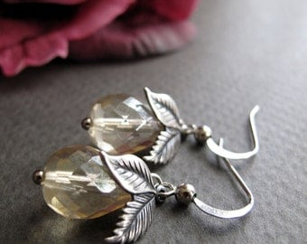 Dangle Earrings, Antique Silver Earrings Champagne Crystals with Leaf Charm Earrings, Vintage Inspired - PEAR CHAMPAGNE