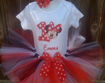 Custom Boutique Monogrammed Personalized Red/white Minnie Mouse Birthday Tutu set
