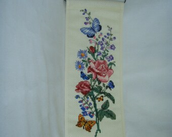 Needlecraft Cross Stitched BUTTERFLY BANNER COMPLETE