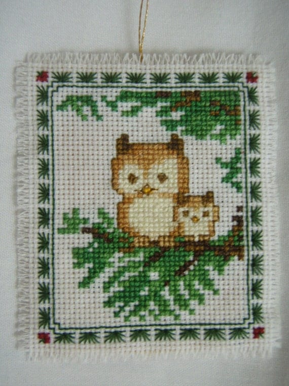 Cross Stitched  2 OWLS on a BRANCH CHRISTMAS Ornament Tag