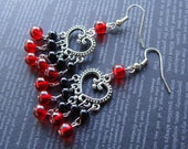 CLEARANCE! Red and Black Heart Chandelier Earrings