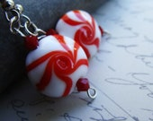 Peppermint Swirl Red White Artisan Lampwork Spiral Earrings - SALE!