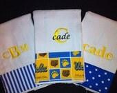 UCLA Personalized Monogrammed Burp Cloths Set of 3