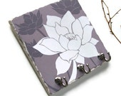 Lotus Flower Art Key Hook, Purple Wall Tile Key Rack, Lavender Decor, Key Hanger, Home Organization, Customized (13) - NaturesHeavenlyArt