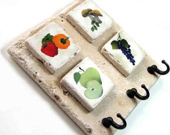 Fruits and Vegetable Art, Key Hook Kitchen Wall Hooks, Decorative Tile Key Rack, Customizable Art, Key Holder, Home Organizer
