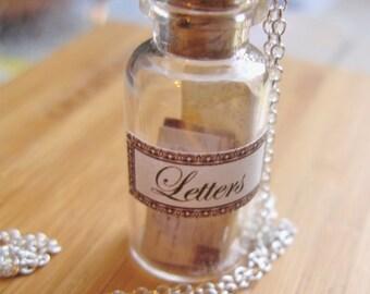 Love Letters Necklace - Nostalgic Miniature Jar Necklace - Messages in a Bottle