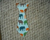 ELEPHANT      12 MOnths    BOYS  tie    iron on Applique     Free SHipping U.S.A.