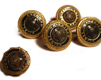 American Legion 4 Vintage Buttons. One Tac Pin. One Auxillary Pin.