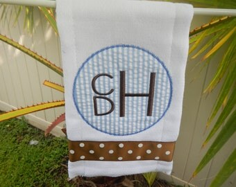 Personalized Burp Cloth 3 Letter Monogram