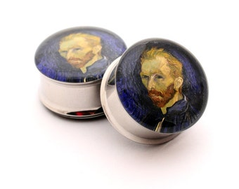 Van Gogh Picture Plugs gauges - 00g, 7/16, 1/2, 9/16, 5/8, 3/4, 7/8, 1 inch