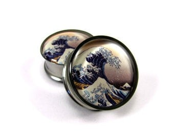 Tidal Wave Picture Plugs gauges - 1 1/8, 1 1/4, 1 3/8, 1 1/2 inch