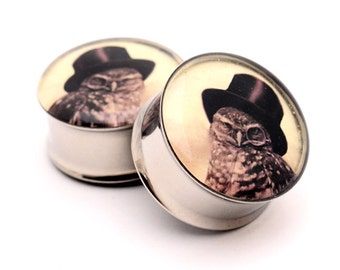 Steampunk Owl Picture Plugs gauges - 16g, 14g, 12g, 10g, 8g, 6g, 4g, 2g, 0g, 00g, 7/16, 1/2, 9/16, 5/8, 3/4, 7/8, 1 inch