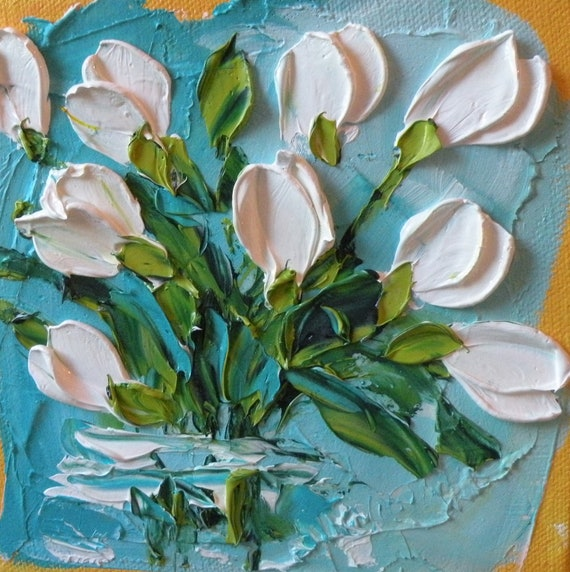Wall Decor White Tulips Shabby Chic Wedding Floral Unique Bridesmaid gift