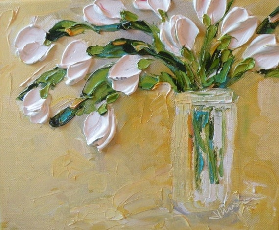 Shabby Chic Original Oil Painting  Tulip  Bouquet  Palette Knife