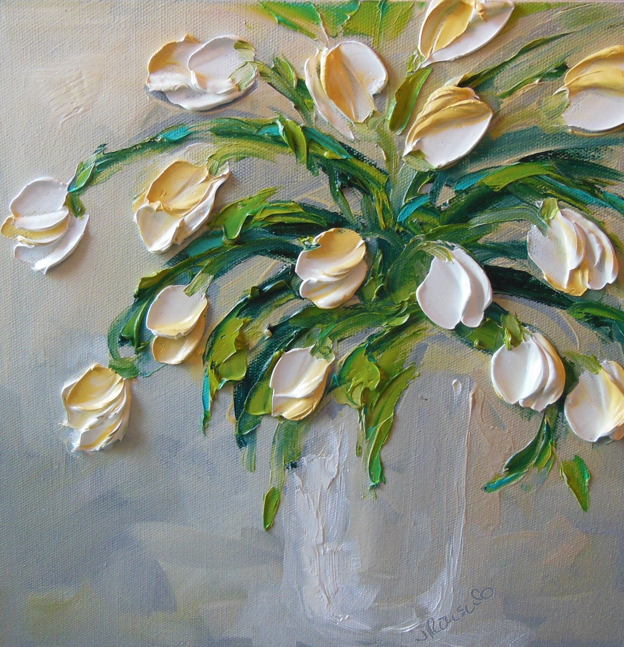 Oil Painting Art White Tulips Impasto on Canvas Jan Ironside