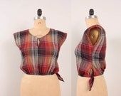 1980s Crop Top / Plaid Cap Sleeve Tie Waist Cropped Blouse - Womens M / L - Red Orange Yellow Navy Blue Grey Burgundy Crinkly Cotton