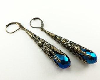 Long Brass Filigree Earrings Metallic Blue Dark Blue Jewelry Dangle