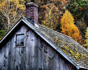 Fall Landscape, Autumn Decor, Fine Art Nature Photography, Litchfield Barn, 11X14 Mat, Ready to Frame, Wall Art, Rustic, Fall Colors