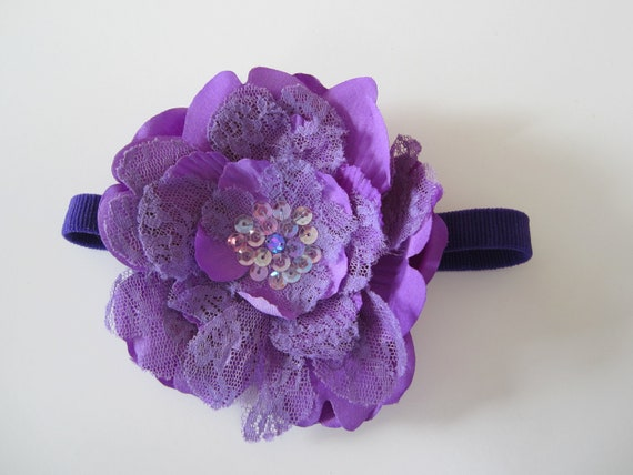 HUGE Headband Sale.Large Purple lace flower headband with sequin detail center
