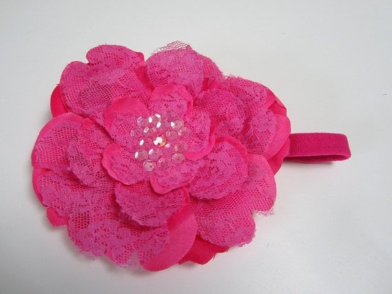 HUGE Headband Sale.Large Hot Pink lace flower headband with sequin detail center
