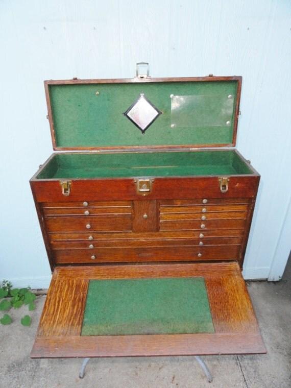 Antique Industrial Tool Box Machinist Gerstner Steampunk