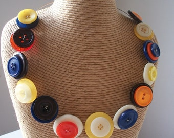 Button Necklace - Brights - Memory wire necklace in bright colours