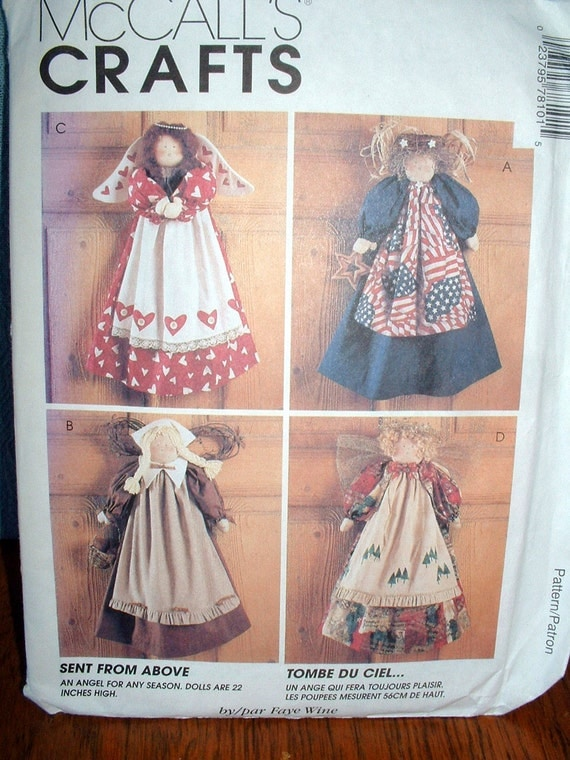 McCall's Crafts 7810 Sewing Pattern, Seasonal Angels Wall Hanging, Home Decor, Clearance SALE