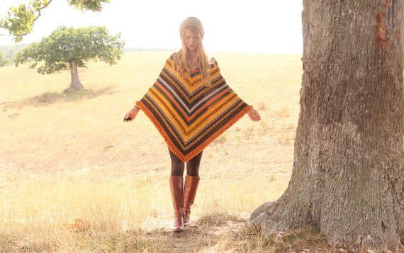 Vintage 1970s Hippie Boho Poncho with Fringe . Colorful Retro Chevron Stripe Knit
