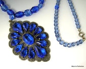 1920s Art Deco Necklace Blue Glass Pendant and Beads