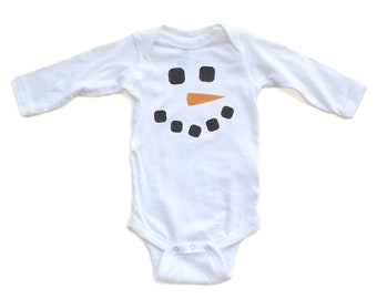 Apericots Christmas Winter Baby Long Sleeve Bodysuit Cute Adorable Snowman Face Fun Xmas Holiday Baby Shower Gift Present