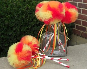 Tulle wands- SESAME STREET party decoration- Poof Wand- Elmo Birthday Party--  yellow wand, orange wand, Party Favor- tulle Pom ball