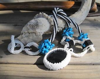 Beaded Black & Blue - Beadwoven Onyx Pendant Necklace