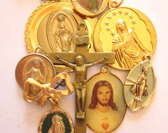 Vintage Religious Medals, Crosses, Destash Lot