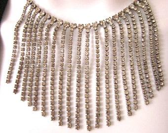 Rhinestone Vintage Bib Necklace Statement Jewelry